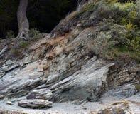 石海滩小猎犬海峡在火地群岛国家公园 免版税库存照片