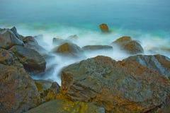 石海滩的看法 库存图片