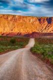 石渣路在南部的犹他沙漠 库存照片