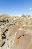 石灰华岩层在塔宾斯沙漠自行车赛沙漠 免版税图库摄影