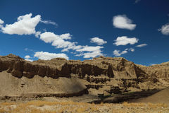石灰岩地区常见的地形地形在西藏 图库摄影