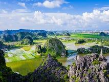 石灰岩地区常见的地形形成和稻田在Tam Coc, Ninh Binh省,越南 免版税库存图片