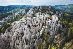 石灰岩地区常见的地形形成在Bijele stijene严密的自然储备,克罗地亚的原始原野 免版税库存照片