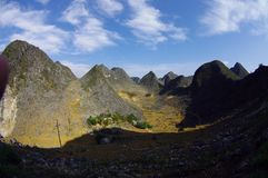 石灰岩地区常见的地形横向 免版税库存照片