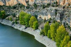 石灰石山的河。 图库摄影
