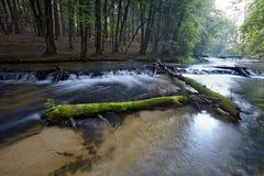 石灰石岩石步创造瀑布 免版税库存图片