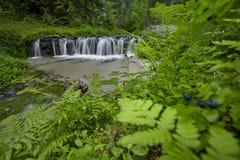 石灰石岩石步创造瀑布 免版税库存照片