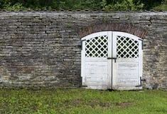 从石灰石的墙壁与门和一棵草在他们前 免版税库存图片
