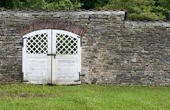 从石灰石的墙壁与门和一棵草在他们前 库存图片