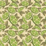 石灰,柠檬 无缝的样式用石灰果子 皇族释放例证