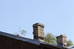 石烟囱屋顶 免版税库存图片