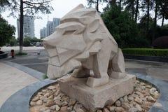 石狮子石头雕刻 库存照片
