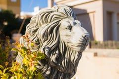 石狮子雕象 一头狮子的大理石雕塑在垫座的 库存照片
