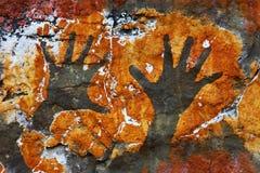 石背景, handprints 免版税库存图片