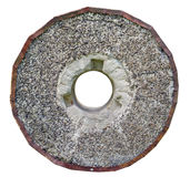 石花岗岩风将转动与生锈的金属外缘 库存照片