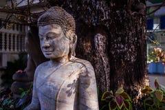 石菩萨雕象在森林背景中 免版税库存图片