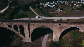 石铁路桥的空中射击 股票录像