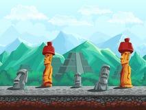 石雕象,在鲜绿色山的金字塔 向量例证