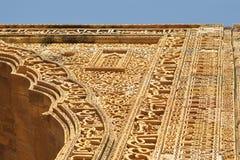 石雕刻在古老清真寺,阿杰梅尔,拉贾斯坦 免版税图库摄影