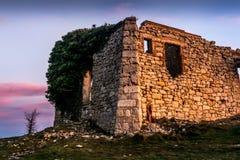 石头一个老房子的Mussara废墟  库存照片