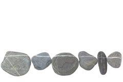 石头作为在白色的一条线 免版税库存图片