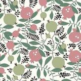 石榴和苹果树的无缝的样式 免版税库存照片