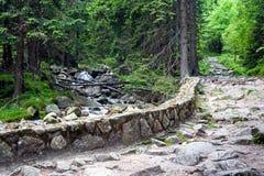 石头在山的被铺的道路 免版税图库摄影