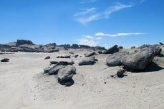 石头在沙漠,瓦尔de la月/月球 库存照片