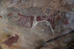 石洞壁画和刻在岩石上的文字在哈尔格萨特写镜头索马里附近的Laas Geel 免版税库存照片
