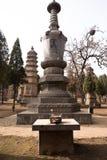 从石头或砖建造的塔在少林寺 免版税库存照片