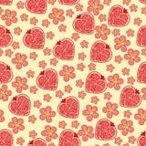 石榴果子和花的心脏。无缝的样式 免版税图库摄影