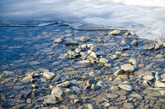 石头河雪冰 图库摄影