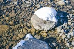 石头河雪冰 库存图片