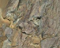石头表面与被弄皱的工艺纸纹理和两枚硬币的 库存照片