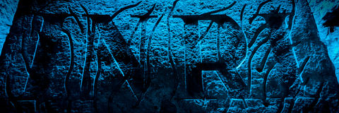石encarving的INRI在地下盐大教堂里 免版税库存图片