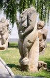 石polovtsian雕塑在Lugansk,乌克兰公园博物馆  免版税库存照片