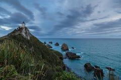 矿块点灯塔,南岛,新西兰 免版税库存照片