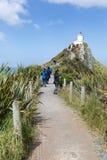 矿块点灯塔,在新西兰` s Catlins海岸的一个普遍的旅游目的地 库存图片