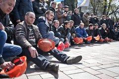 矿工群众抗议  库存图片