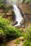 矿工跌倒在Michiga上部半岛的被生动描述的岩石  库存照片