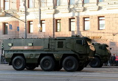 矿抗性埋伏保护了(MRAP)装甲车台风K 免版税库存图片