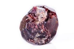 矿物石榴石石头的宏指令在白色背景的 库存照片