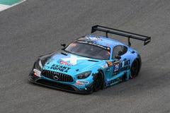 12矿石Hankook Mugello 2017年3月18日:#25 HTP Motorsport,默西迪丝AMG GT3 免版税图库摄影