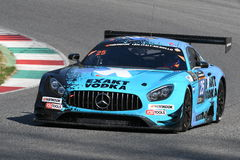12矿石Hankook Mugello 2017年3月18日:#25 HTP Motorsport,默西迪丝AMG GT3 免版税库存照片