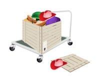 码垛车在运送箱的装货帽子 库存图片