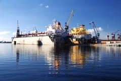码头船造船厂 图库摄影