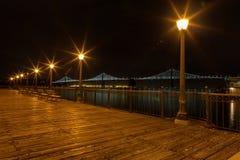 码头7全景在旧金山在晚上 免版税图库摄影