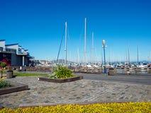 码头39渔夫的码头在旧金山,是一个著名旅游胜地 库存照片