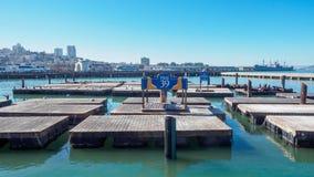 码头39渔夫的码头在旧金山,是一个著名旅游胜地 免版税图库摄影