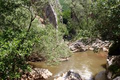 洱码河, Tran峡谷,保加利亚峡谷  免版税图库摄影